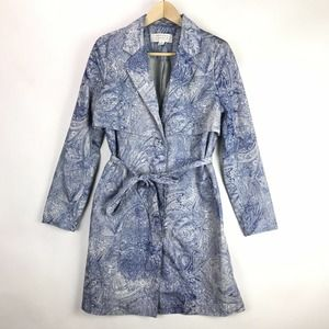 Badgley Mischka American Glamour Women S Blue Floral Paisley Trench Coat Jacket